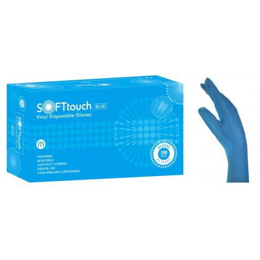 Γάντια Βινυλίου Μπλε Soft Touch με Πούδρα