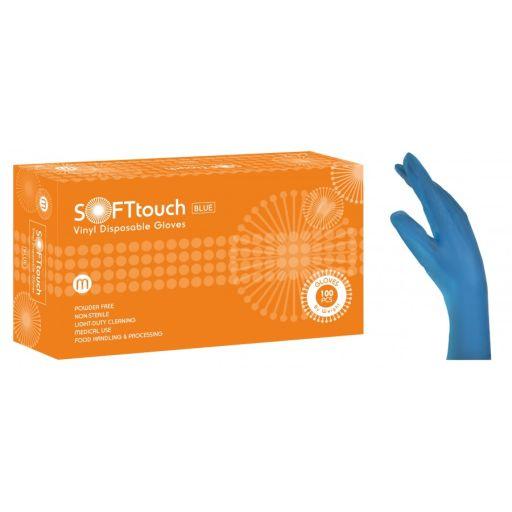 Γάντια Βινυλίου Μπλε Χωρίς Πούδρα Soft Touch